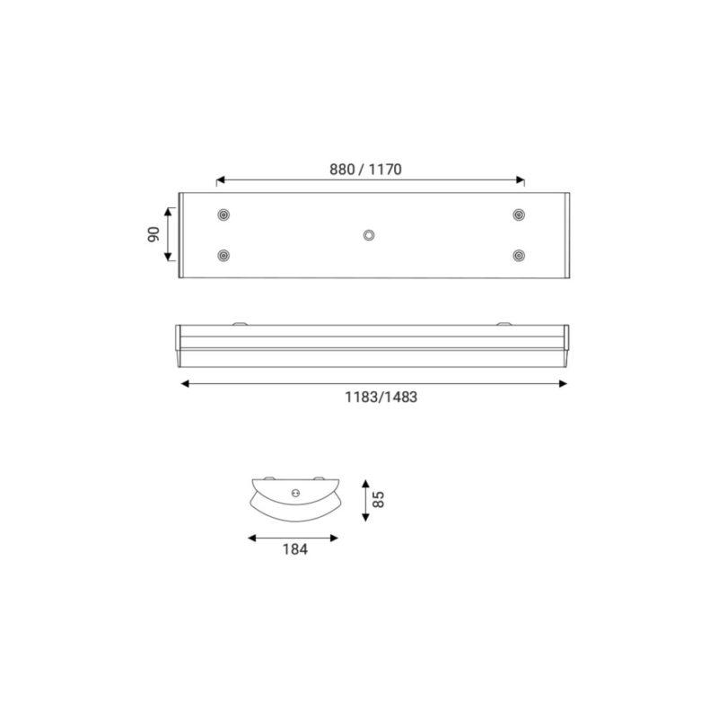 Gem LED Linear Surface Luminaire Dimension